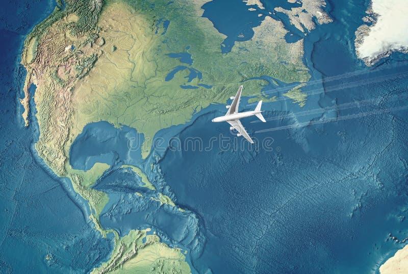 Avion civil blanc au-dessus de l'Océan atlantique illustration libre de droits