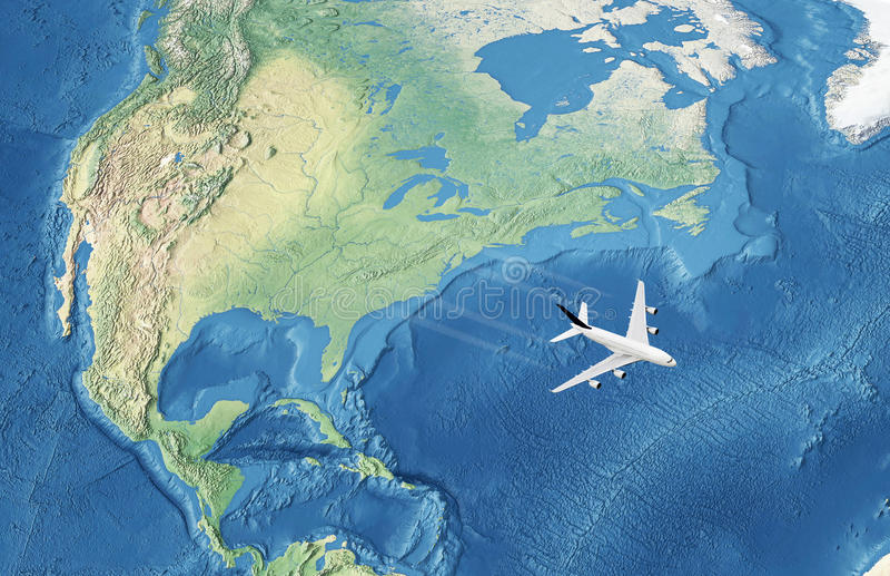 Avion civil blanc au-dessus de l'Océan atlantique illustration de vecteur