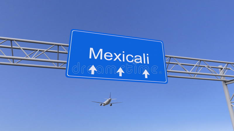 Avion commercial arrivant à l'aéroport de Mexicali Déplacement au rendu 3D conceptuel du Mexique photo libre de droits