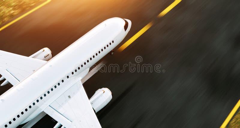 Avion commercial blanc décollant sur la piste d'aéroport au coucher du soleil L'avion de passager décolle illustration de vecteur
