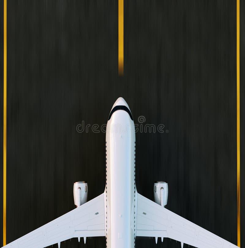 Avion commercial blanc décollant sur la piste d'aéroport au coucher du soleil L'avion de passager décolle illustration stock