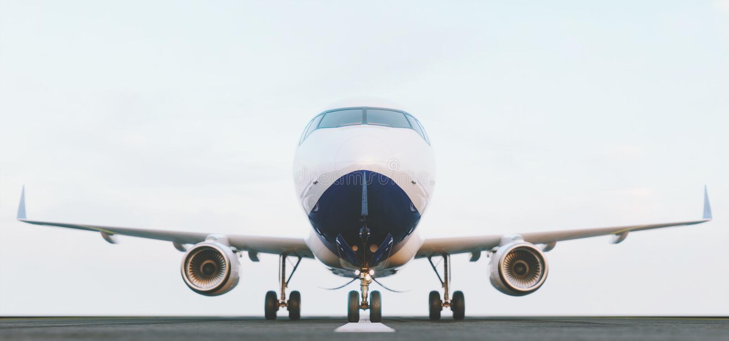Avion commercial blanc se tenant sur la piste d'a?roport au coucher du soleil La vue de face de l'avion de passager d?colle illustration stock