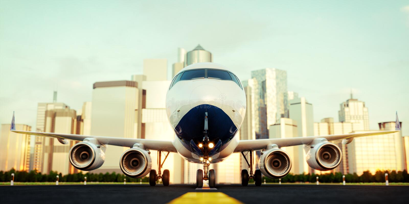 Avion commercial blanc se tenant sur la piste d'a?roport aux gratte-ciel d'une ville illustration stock