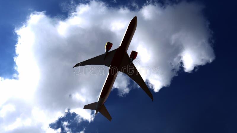 Avion commercial contre le ciel bleu, vue de la terre rendu 3d illustration de vecteur