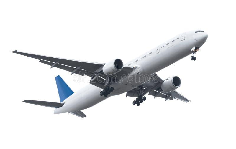 Avion commercial sur le fond blanc avec le chemin de coupure photo libre de droits