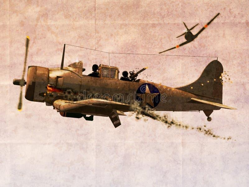 Avion courageux de bombardier de piqué illustration de vecteur