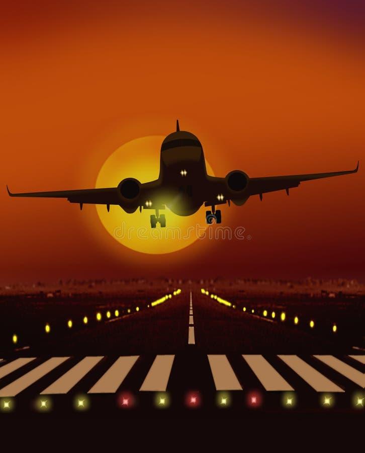 Avion décollant de la piste illustration libre de droits