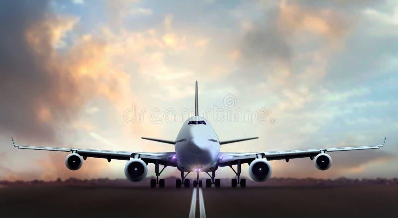 Avion décollant des pistes d'aéroport pendant le coucher du soleil images libres de droits