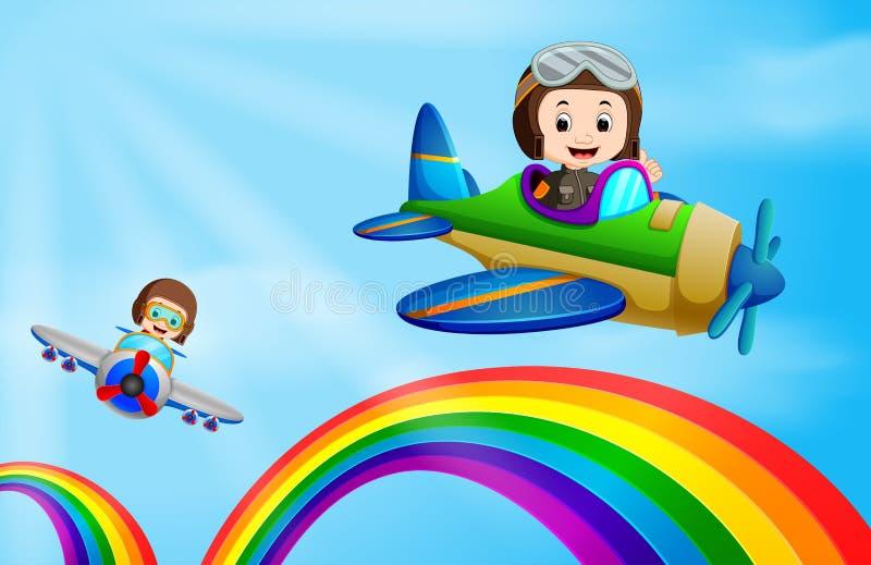 Avion d'air deux volant au-dessus de l'arc-en-ciel illustration libre de droits