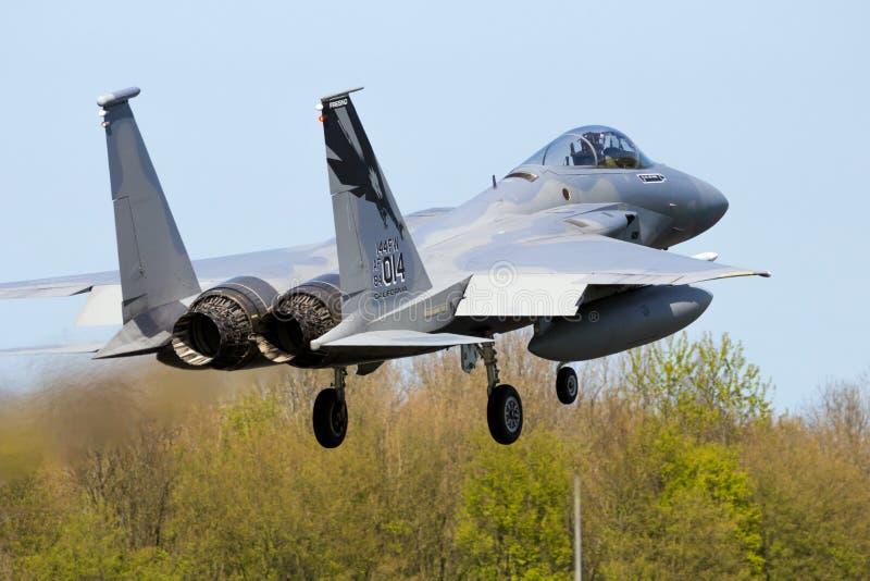 Avion d'avion de chasse de la garde nationale d'air de la Californie F-15C Eagle images stock