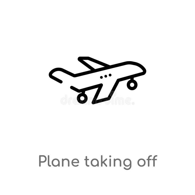 avion d'ensemble enlevant l'ic?ne de vecteur ligne simple noire d'isolement illustration d'?l?ment de concept de transport Vecteu illustration de vecteur
