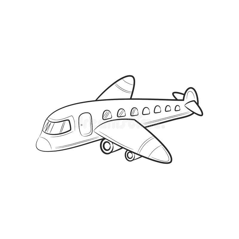 Avion d'icônes de voyage de transport de croquis d'aspiration de main illustration stock