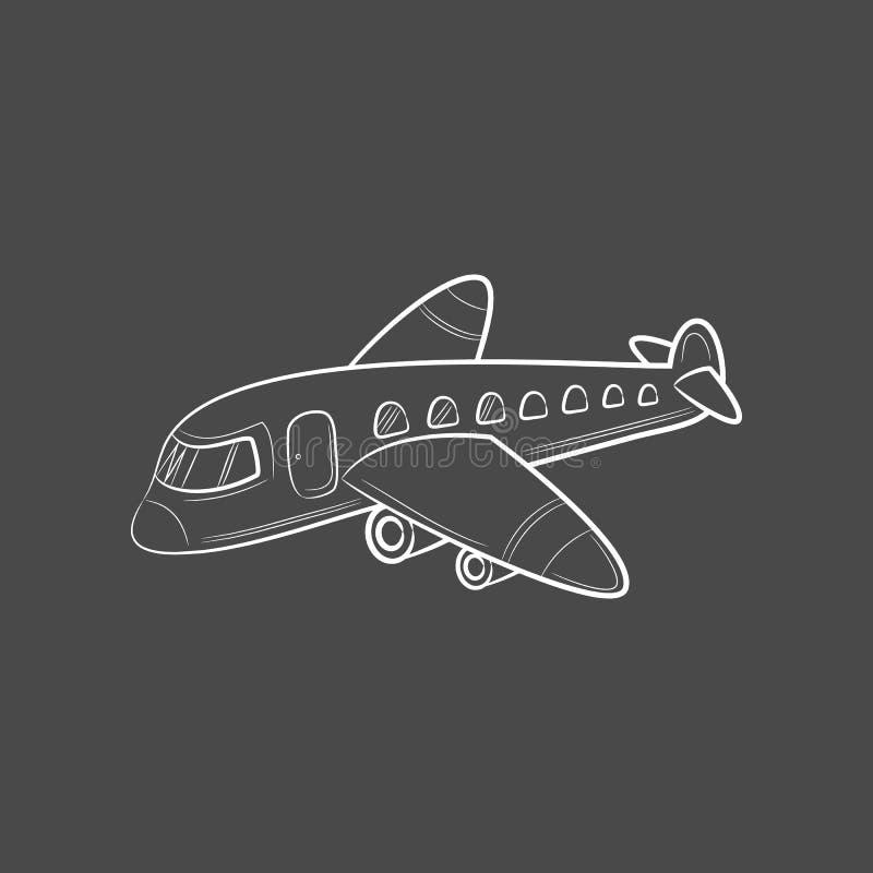 Avion d'icônes de voyage de transport de croquis d'aspiration de main illustration de vecteur