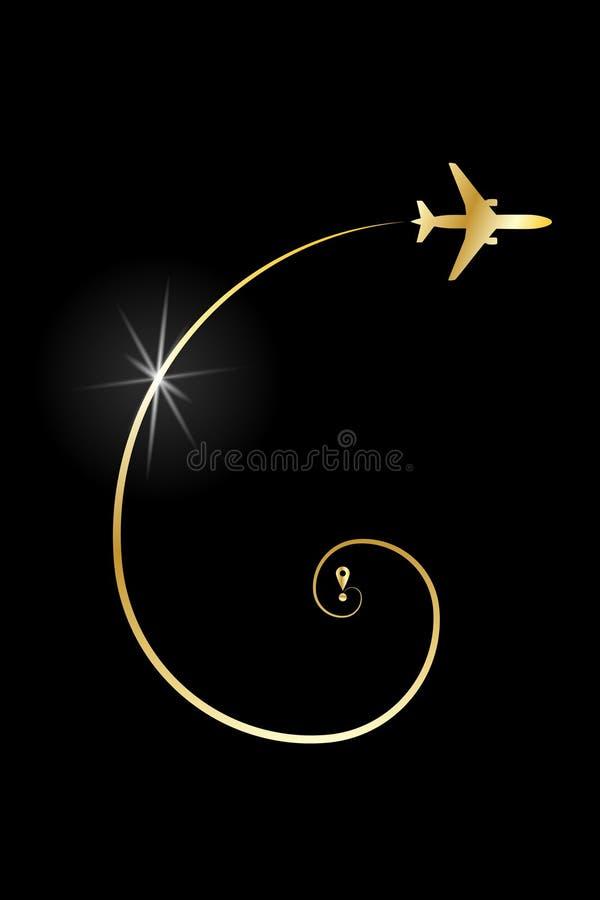 Avion d'or d'itin?raire illustration stock