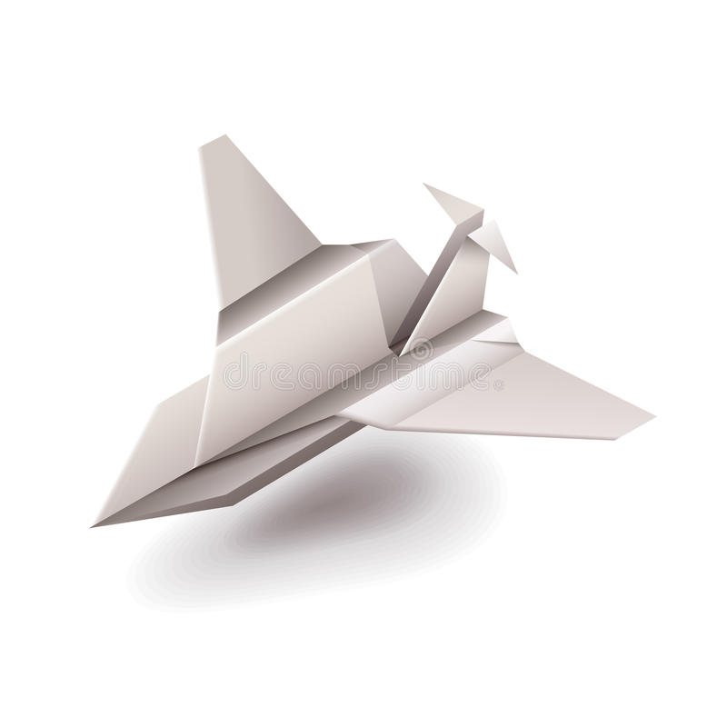 Avion d'origami sur le vecteur blanc illustration libre de droits