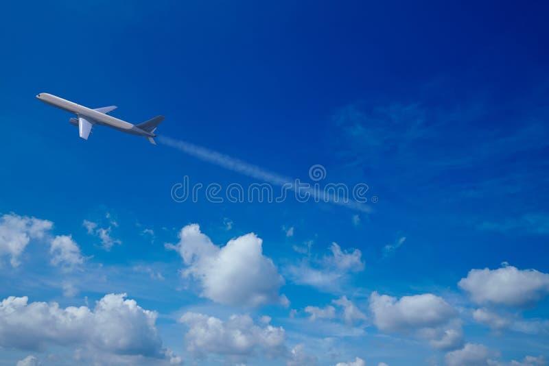 Avion dans le ciel avec des nuages illustration stock