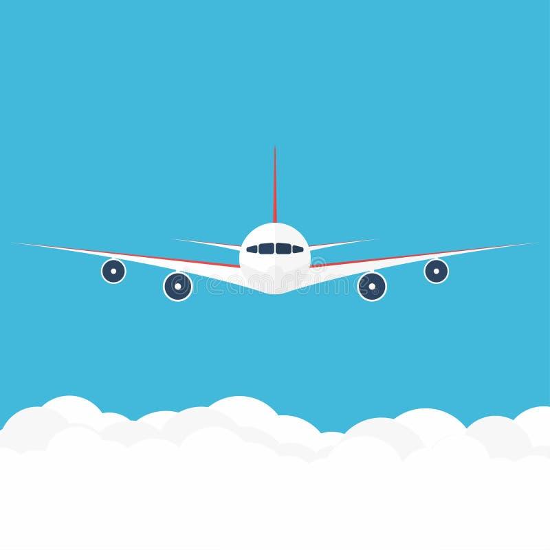 Avion dans le ciel Avion commercial dans la vue de face illustration libre de droits