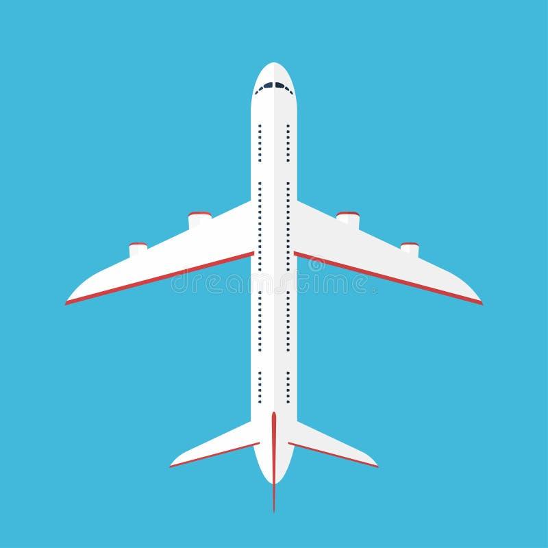 Avion dans le ciel Avion commercial dans la vue supérieure, vue d'en haut illustration stock