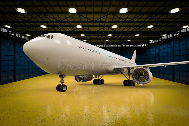 Avion dans le hangar photographie stock libre de droits