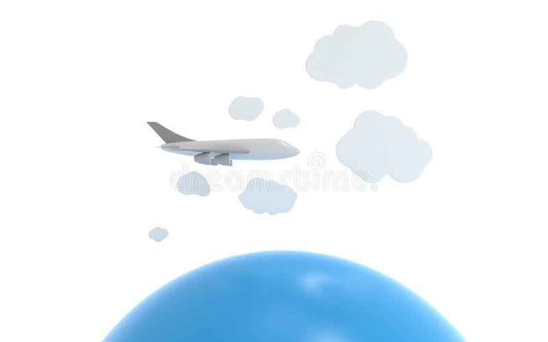 Avion dans les nuages au-dessus de l'océan illustration stock