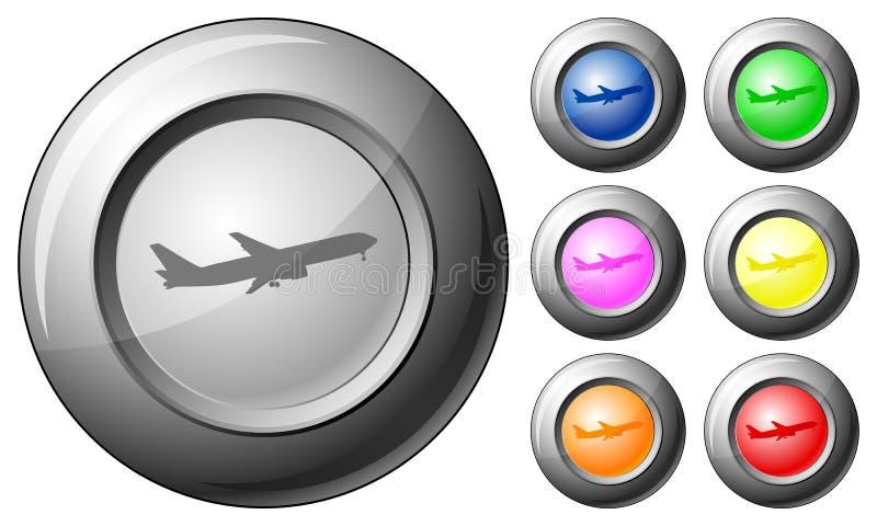 Avion de bouton de sphère illustration stock
