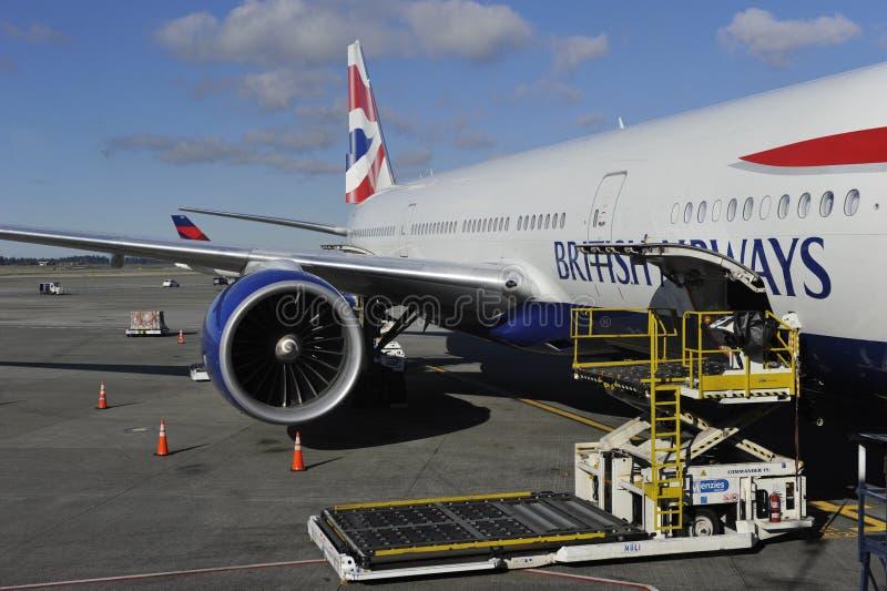 Avion de British Airways images libres de droits