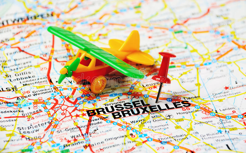 Avion de Bruxelles images libres de droits