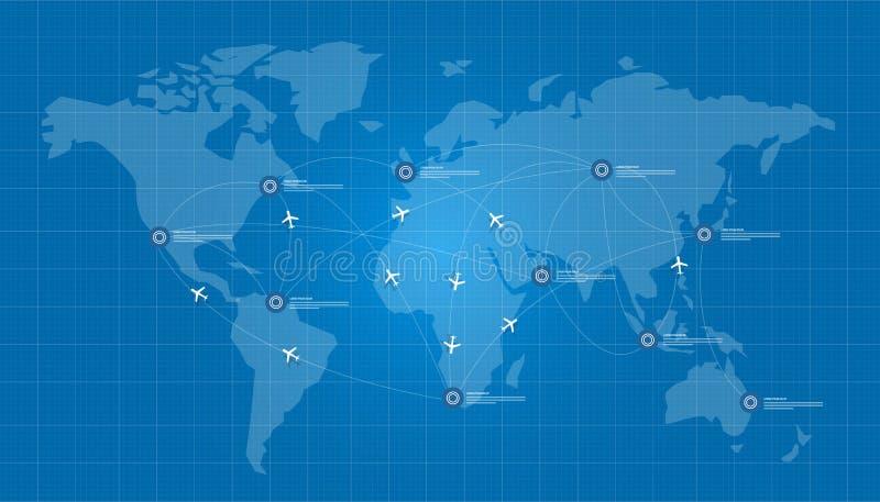Avion de carte du monde logistique dans le réseau de croquis de mise au point illustration libre de droits