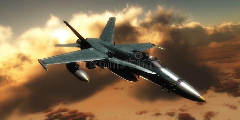Avion de chasse avec le pilote illustration libre de droits