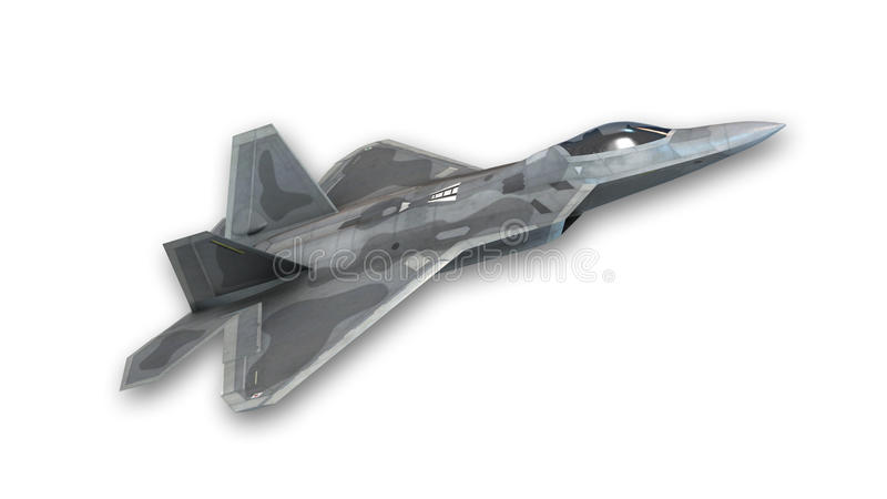 Avion de chasse décollant, avion militaire d'isolement sur le blanc illustration libre de droits