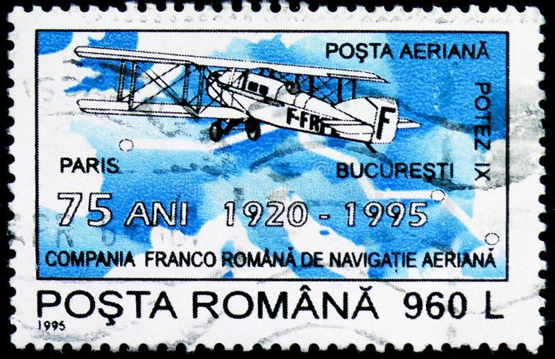 Avion de ligne 1921, accord aéronautique Français-roumain, soixante-quinzième serie de Potez IX d'anniversaire, vers 1995 photos stock