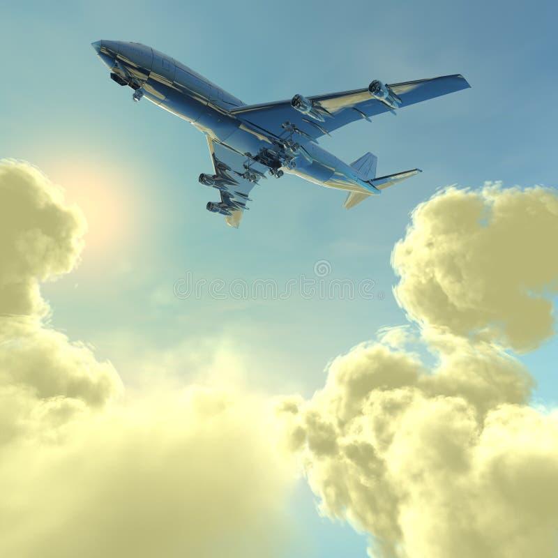 Avion de ligne avec nuages illustration de vecteur
