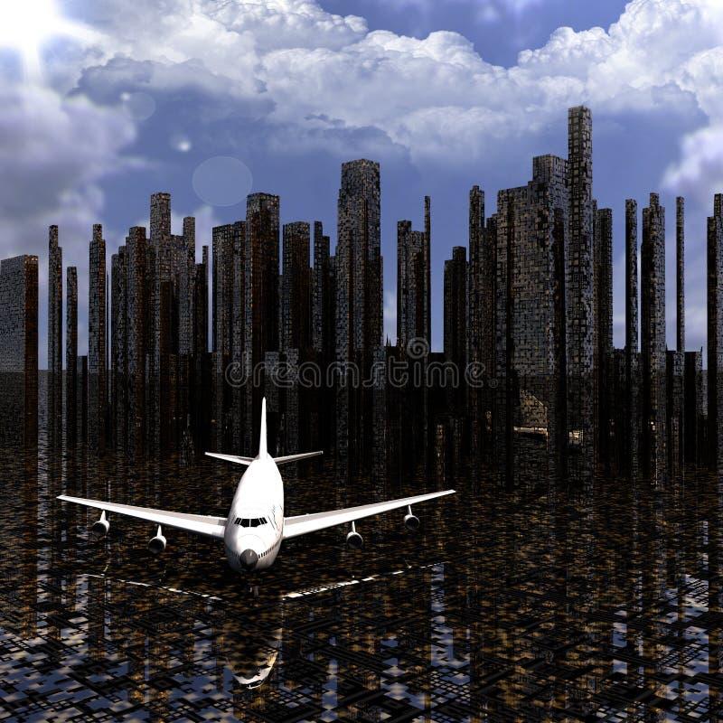 Avion de ligne avec une ville illustration de vecteur