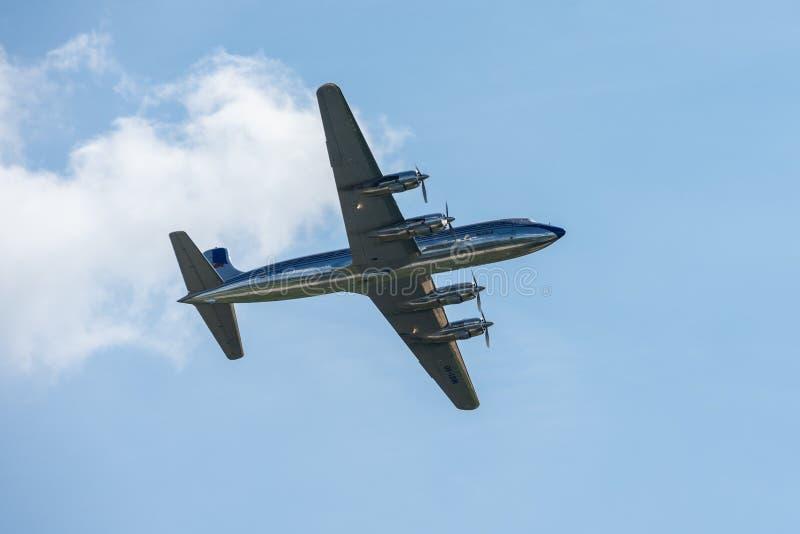 Avion de ligne Douglas DC-6B Équipe de Red Bull photo libre de droits