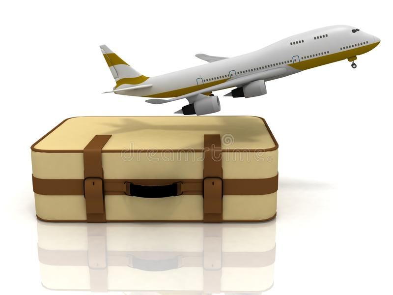 Avion de ligne et valise illustration stock
