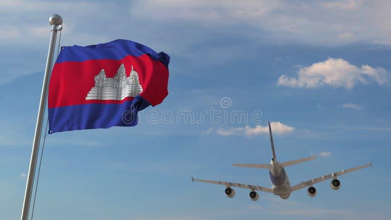 Avion de ligne passant au-dessus du drapeau national du Cambodge Le transport d'air cambodgien a rapporté le rendu 3D illustration stock