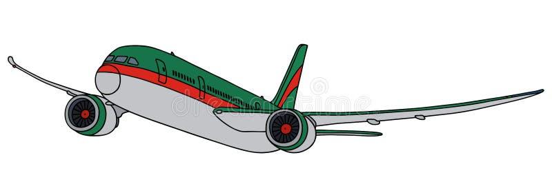 Avion de ligne verte de jet illustration de vecteur