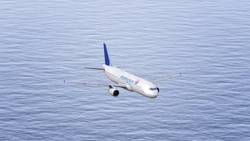Avion de Malaysia Airlines volant au-dessus de la mer Rendu conceptuel de l'éditorial 3D images stock