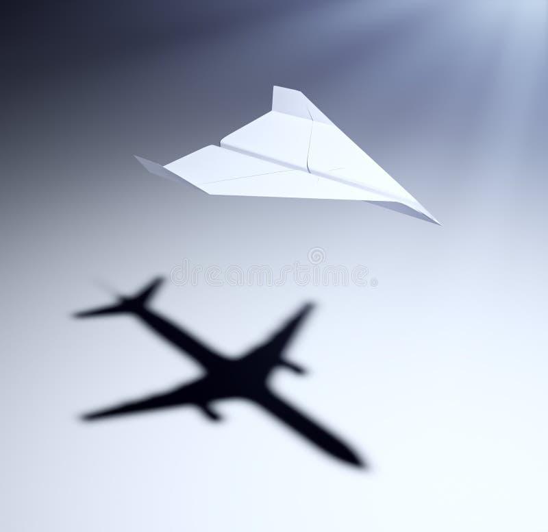 Avion de papier avec de grandes aspirations illustration libre de droits