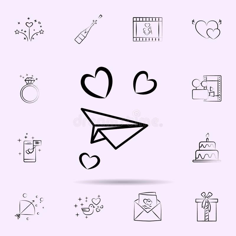 Avion de papier avec l'icône de coeurs E illustration stock