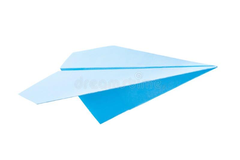 Avion de papier bleu photographie stock libre de droits