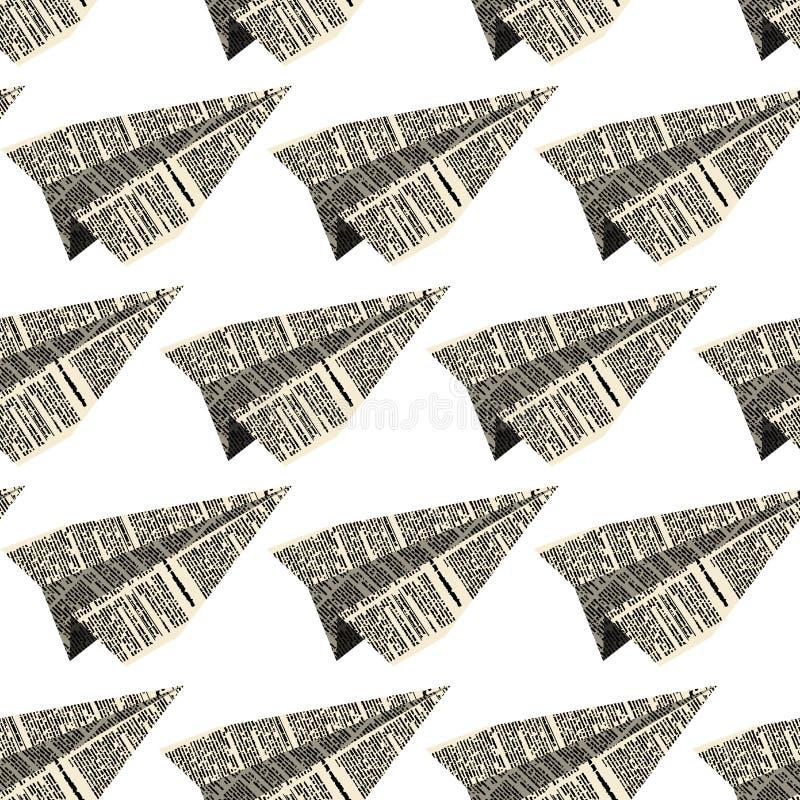 Avion de papier de modèle sans couture de vieux journaux illustration libre de droits
