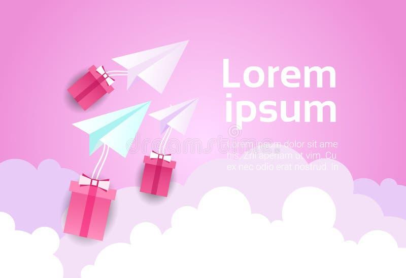 Avion de papier en ciel au-dessus de fond rose Valentine Day Concept de nuages et de boîte-cadeau illustration libre de droits