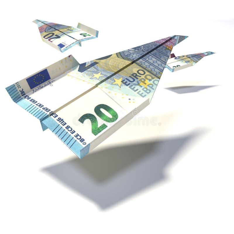 Avion de papier fait d'une facture de l'euro 20 illustration libre de droits