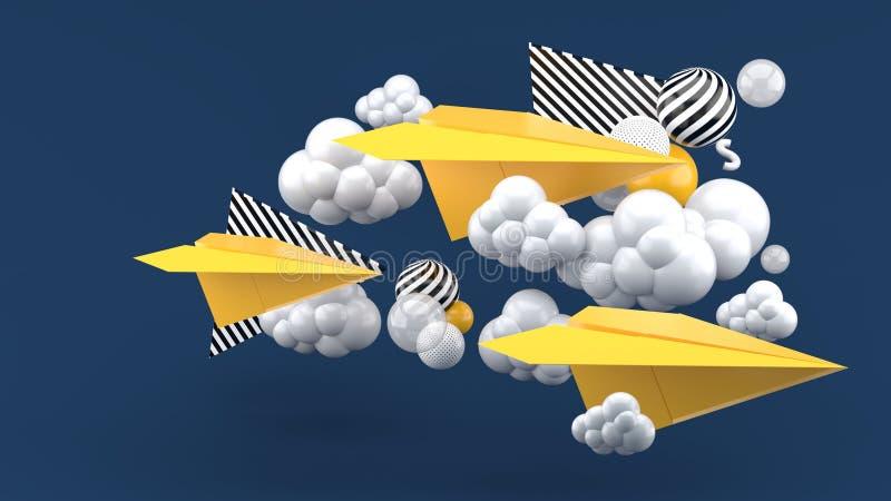 Avion de papier jaune parmi des nuages sur le fond bleu-foncé illustration libre de droits