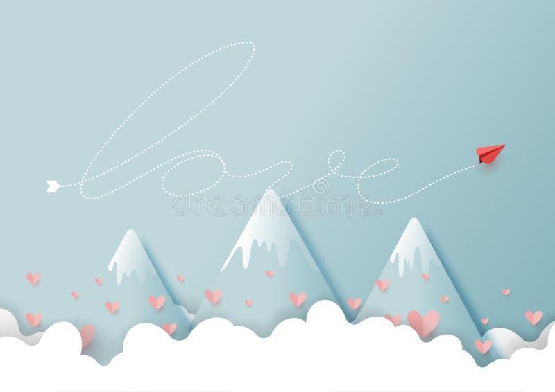 Avion de papier rouge avec le concept d'amour sur les nuages et le ciel bleu illustration libre de droits