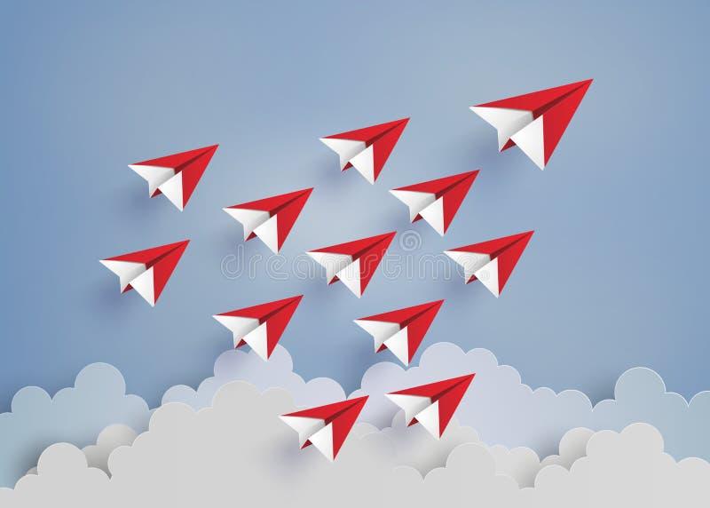 Avion de papier rouge sur le ciel bleu illustration stock