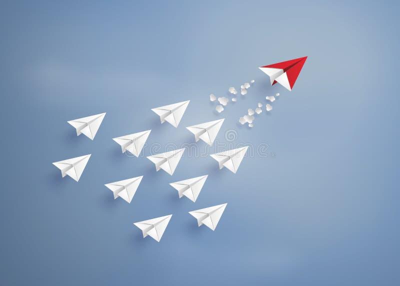 Avion de papier sur le ciel bleu illustration libre de droits