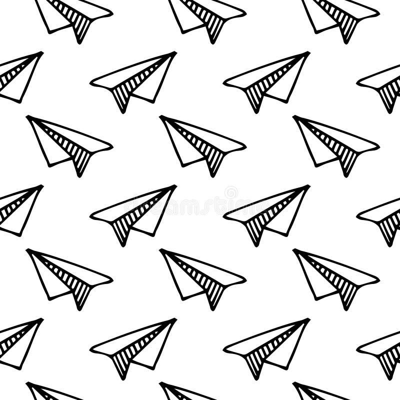 Avion de papier tiré par la main de modèle sans couture Croquis de noir de griffonnage illustration de vecteur