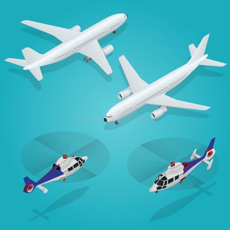 Avion de passager Hélicoptère de passager Transport isométrique Véhicule d'avions Transport d'air Vecteur illustration stock